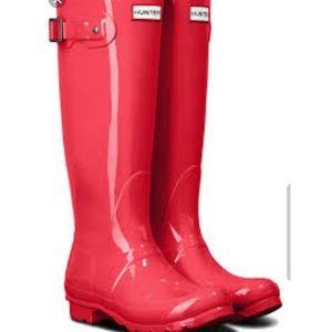 NEW HUNTER original rain boots high gloss pink